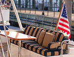 starboard bench seat in striped Sunbrella